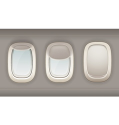 Three Realistic Portholes Of Airplane vector image