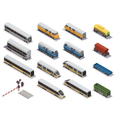train railway isometric set vector image