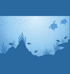 Underwater landscape of turtle and fish vector