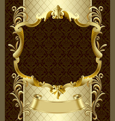 Vintage gold banner with a crown on dark brown vector