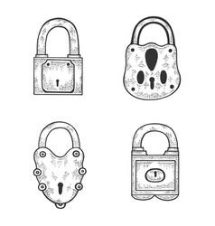 vintage padlock set sketch engraving vector image