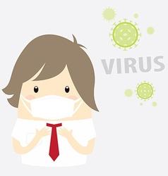 Virus businessman with hygiene mask vector
