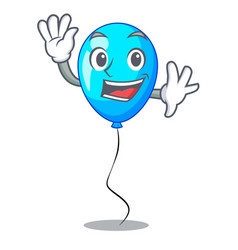 Waving blue balloon character on the rope vector