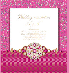wedding invitation with gold ornaments and vector image
