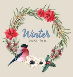 Winter floral blooming wreath frame elegant vector