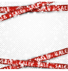 winter sale background with red ribbons vector image