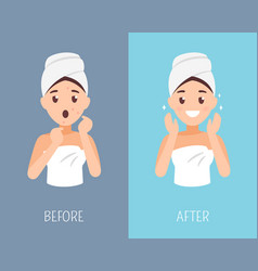 woman skin care before and after face treatment vector image