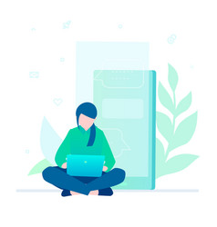 woman working with a laptop - flat design style vector image