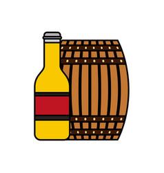 wooden barrel bottle beer isolated design vector image