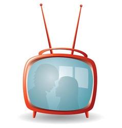 red retro tv set vector image vector image