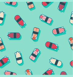 seamless pattern sushi green vector image vector image
