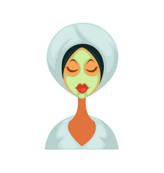 woman in bathrobe with towel on head and healing vector image