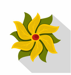 Yellow abstract flower icon flat style vector
