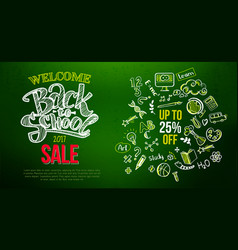 back to school sale lettering on green vector image