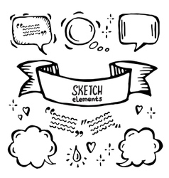 hand drawn sketch ribbons and bubbles of vector image