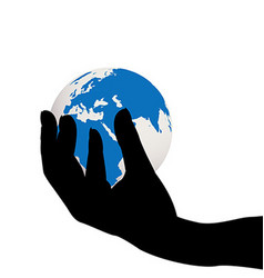 Hand holding the Earth globe vector image