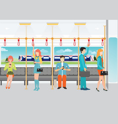 people traveling on the subway vector image vector image