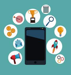 smartphone app digital marketing vector image vector image