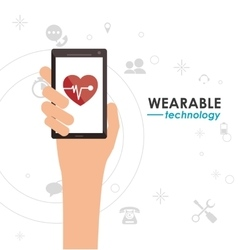 smartphone heart monitoring wearable technology vector image
