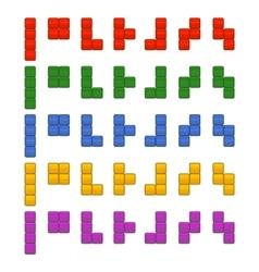 Tetris Bricks Pieces Total Set for Game vector image