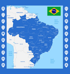 the detailed map of the brazil with regions or vector image