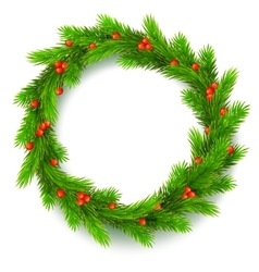 Christmas wreath fir branches red berries of vector image