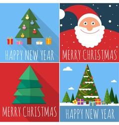 Flat design Christmas card set vector image