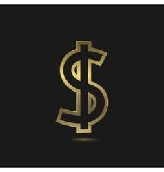 Golden Dollar sign vector image vector image