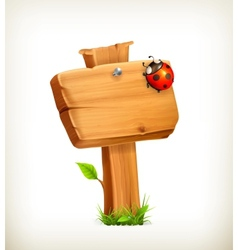 Ladybug on wooden sign vector image vector image