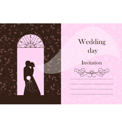 Wedding card - Bride and Groom silhouette vector image
