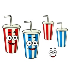 Cartoon takeaway soda striped cups vector image vector image
