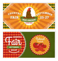 country fair vintage invitation cards vector image