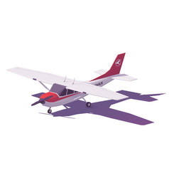 low poly small airplane vector image vector image
