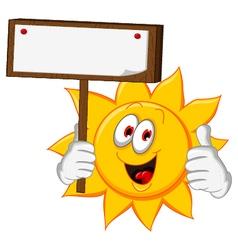 sun cartoon holding blank board vector image vector image