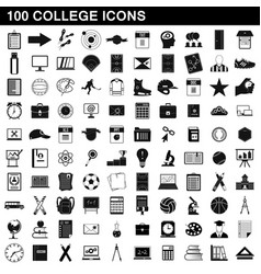 100 college icons set simple style vector