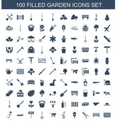 100 garden icons vector