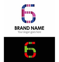 6 number logo icon vector