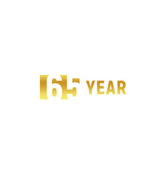 65 year happy birthday gold logo on white vector image
