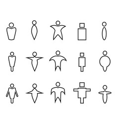 abstract people linear icons vector image vector image