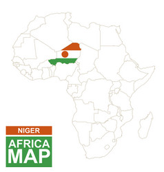 Africa contoured map with highlighted niger vector