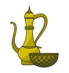 Antique oriental carved jug vector