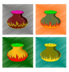 Assembly flat shading style icon potion cauldron vector