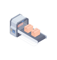 Automated boxing line isometric vector