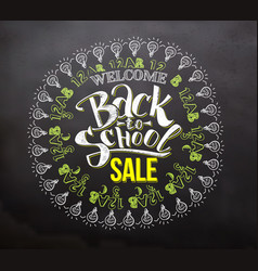 back to school sale lettering with icons vector image