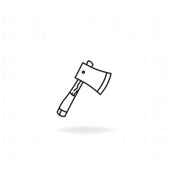 black thin line axe icon with shadow vector image