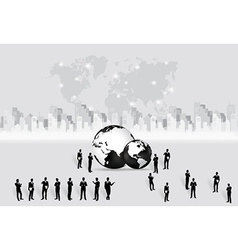 Business people silhouettes and modern globe with vector