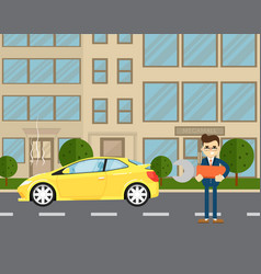 Car repairs banner with man near broken car vector