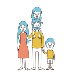 Caricature color sections and blue hair of family vector
