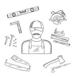 Carpenter and toolbox tools sketches vector image