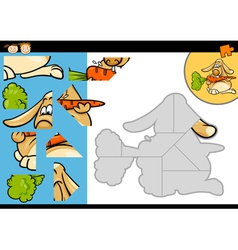 cartoon rabbit jigsaw puzzle game vector image